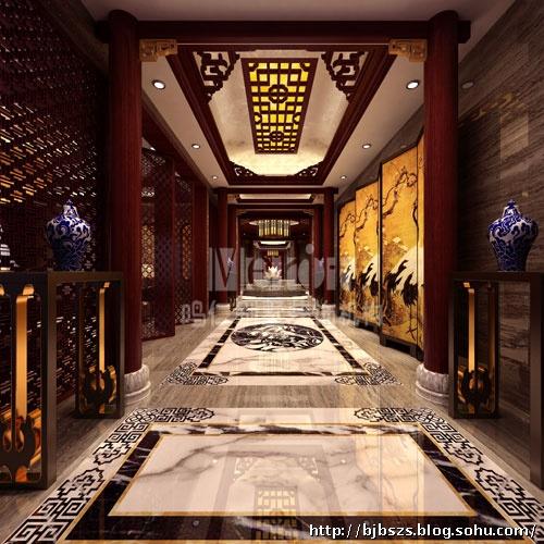 中式的花格吊顶,西式的皮质沙发和时尚吧台等相结合,营造了一个图片