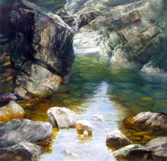 著名画家于成松创作的中国风光油画 《清山
