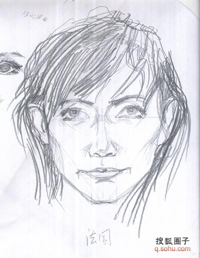 侧面嘴唇素描的画法步骤图