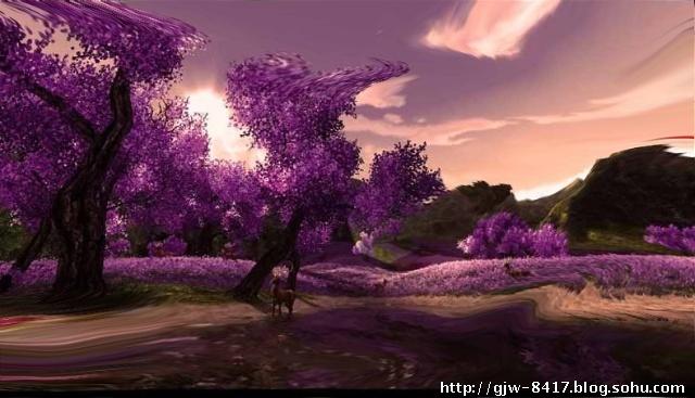 古风月下桃花树