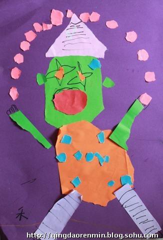 撕贴画:小丑——5岁孩子的作品