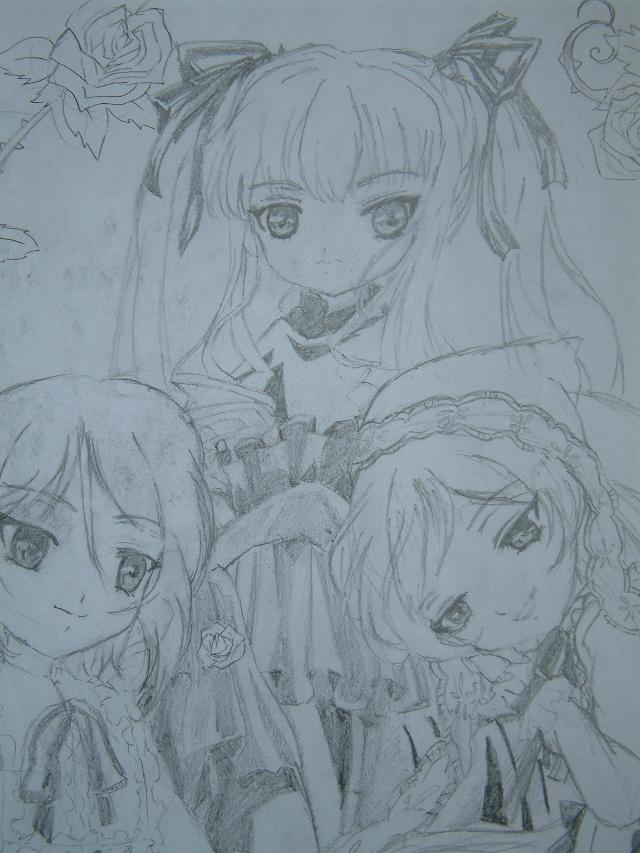 1.蔷薇少女的涂鸦,只拿铅笔画了,没上色,上了色就没有feel了! 2.