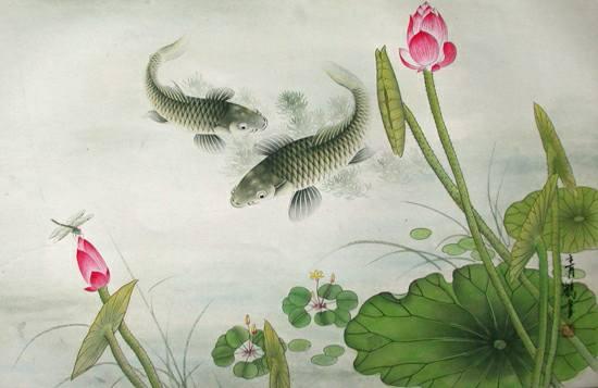 水墨锦鲤桌面壁纸