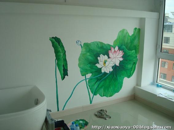 荷花手绘墙