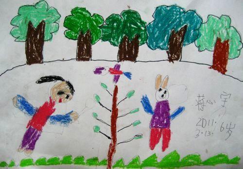 三岁宝宝画树步骤