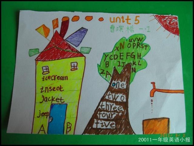 一年级英语小报展示 孩子高清图片