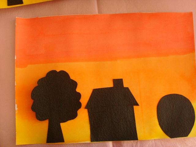 落日剪贴画:背景是红橙黄颜料的渐变色