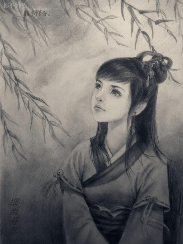 手绘古装美女铅笔画图片大全_手绘古装美女铅笔画图片下载