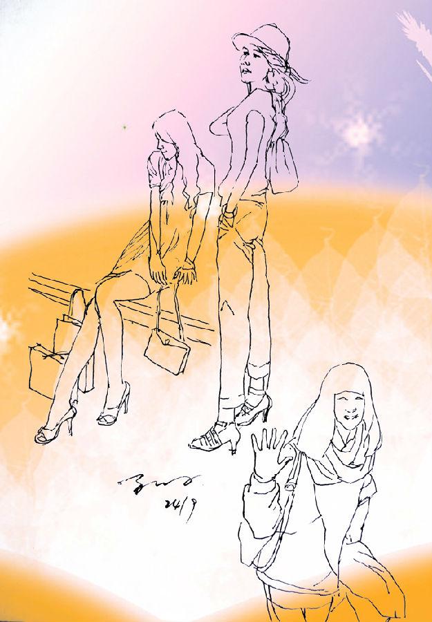 美女系列钢笔速写画