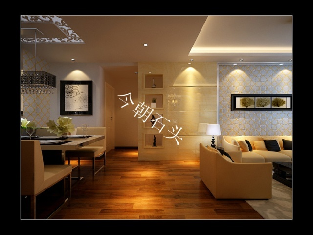 太阳水岸新城3居室120平米现代简约风格装修案例 今朝石头