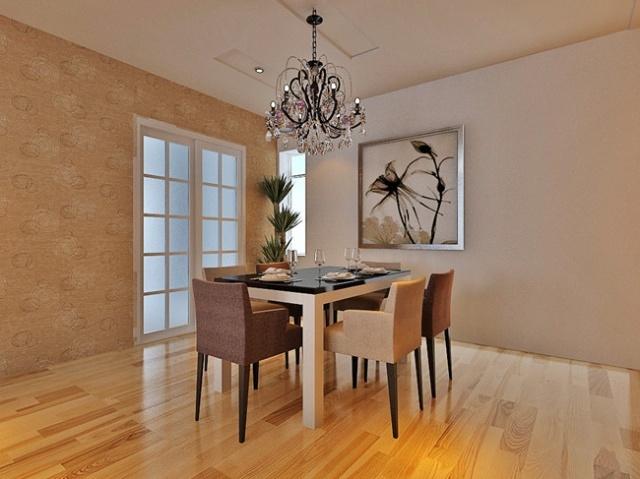 辰能溪树庭院 餐厅装修效果图 餐厅采用三组凹槽石膏板造