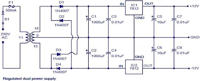 变压器t1下降的交流电源电压和二极管d1