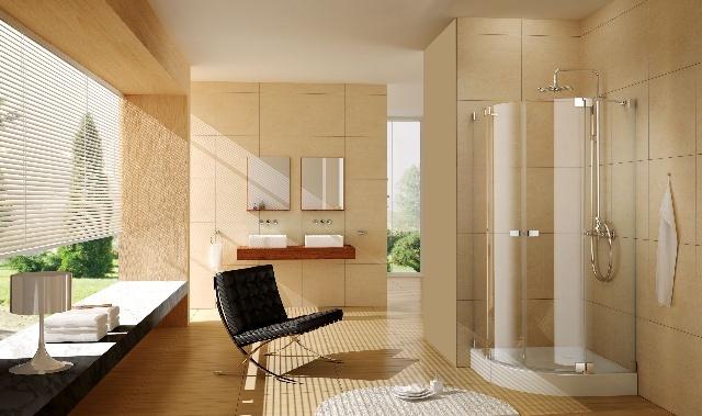 淋浴房主要有三种外观样式:圆弧形,直角形和一字形.
