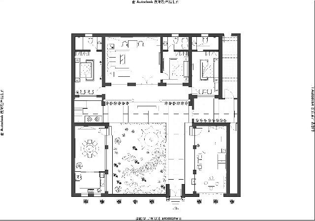 怀柔四合院205平简中式设计装修效果图----平面布置图