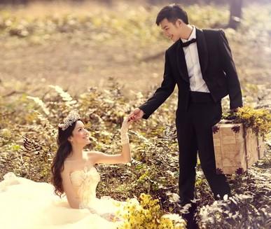 青岛八大关婚纱照秋季落叶