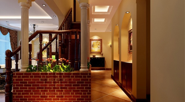 欧式风格客厅装修-实创装饰效果图   二层过道环形灯带烘托着