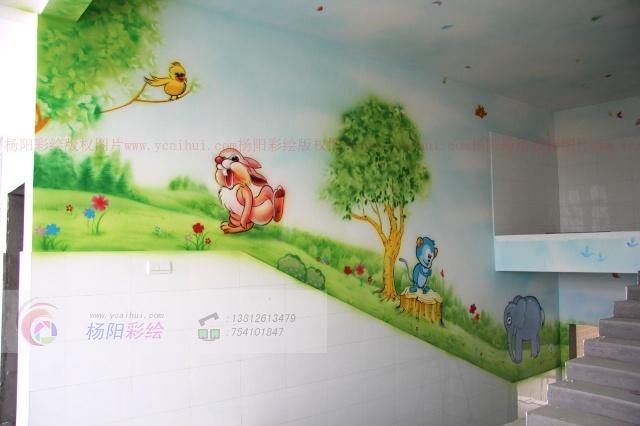 幼儿园楼梯间手绘墙装饰-无锡江阴幼儿园室内壁画