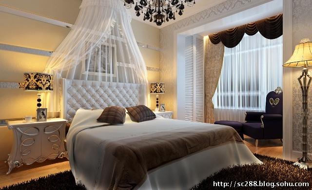 卧室设计效果图--床头背景墙和阳台白色定制衣柜让空
