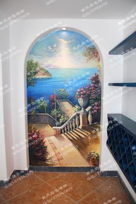 重庆手绘墙蓝色地中海情结