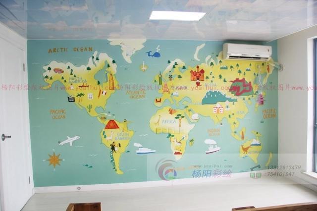 儿童房创意墙绘设计-手绘卡通版世界地图